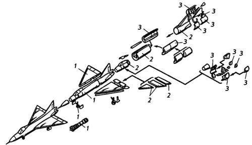 3 показано членение самолета